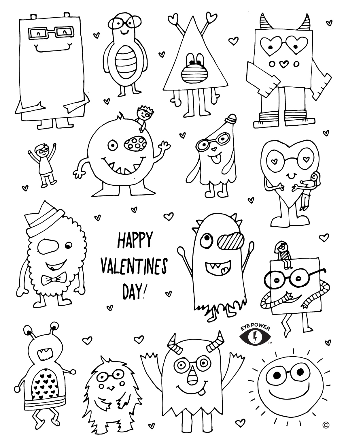 valentines day print out coloring pages - free valentines coloring page printable eye power kids wear
