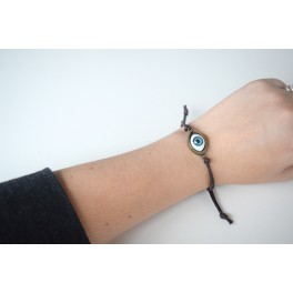 Eye leather stretch bracelet